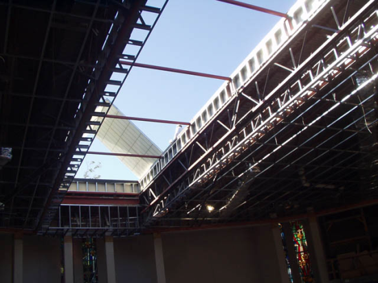 Inside view of panels being installed